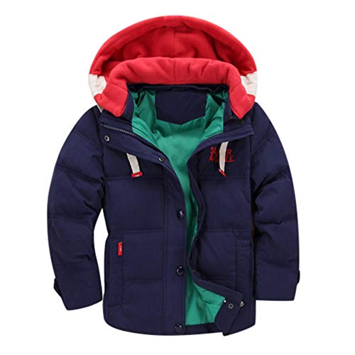 Toddler Baby Girl Boy Winter Clothes Padded Thick Coat Jacket 3-7 Years Old,Kid Hooded Warm Snow Wear Overcoat (2-3 Years Old, Dark Blue)