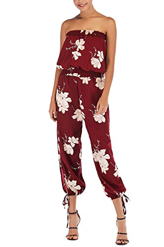 Fixmatti Women Floral Printed Tube Top High Waisted Slit Romper Jumpsuit Ruby M