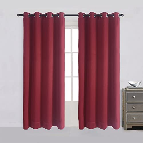 Cherry Home Room Darkening Solid Blackout Curtain with Metallic Grommet, 52 Inch Wide by 84 Inch Long, Burgundy,1 Panel