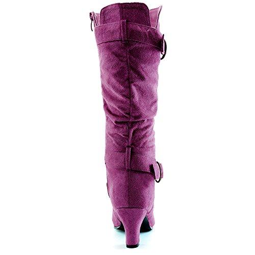 """Dailyshoes Damen Slouchy Mid Calf Riemchen Stiefel mit Knöchel und Top Straps - 2 """"Heel Fashion Boots Lila Sv"""