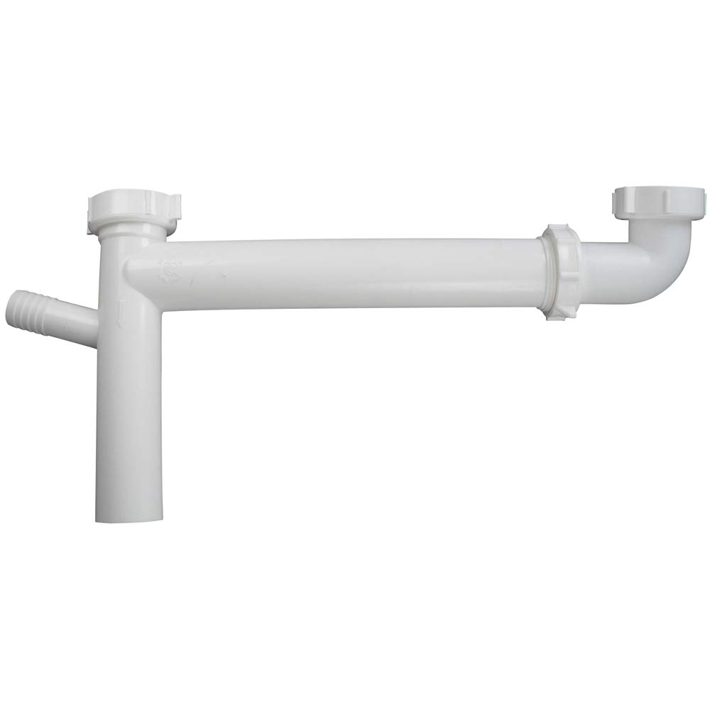 "Keeney 127AW End Outlet-Telescoping Continuous Waste, 1, Direct, 1/2in Branch Tailpiece for Connection to Dishwasher, 1-1/2"" White"
