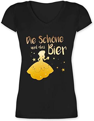 Shirtracer - Typisch Kobiety - Piękna i piwo - damska koszulka z dekoltem w serek: Shirtracer: Odzież