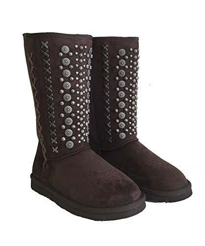 Montana West Winter Boots Antique Silver Floral Conchos Metal Stitches Coffee, 8M