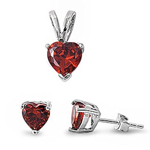 Jewelry Set Solitaire Heart Pendant Earring Set Simulated Red Garnet 925 Sterling Silver - Earrings Crown Peridot Heart