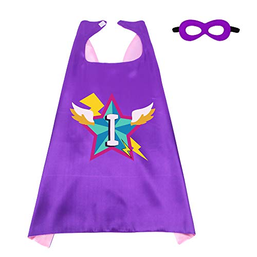 Kids Superhero Cape Mask for Girls with 26 Initial Letters Hero Party Supplies