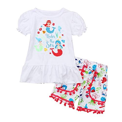 MOGOV Baby Girl Summer Outfits Cartoon Mermaid Print T-Shirt Short Tassel Pants Clothes White