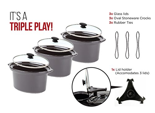 Chefman Triple Slow Cooker & Buffet Server with 3 Removable 1.5 Qt. Oval Crocks, Pot Inserts Individually Heat Controlled, Locking Lid Straps, Spoon & Lid Rests, Stainless Steel by Chefman (Image #4)