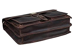 Crazy-Horse Leather Briefcase Handbag Messenger Bag Travelling Shoulder Bag Satchel Bag Fit 15\