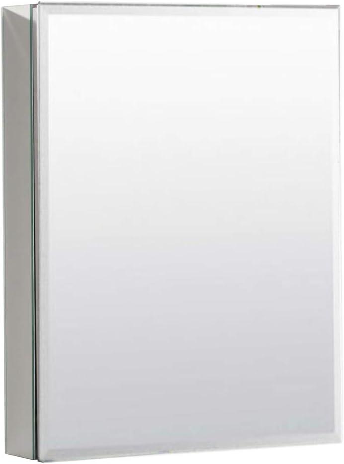 MOVO 26 Inch X 20 Inch Medicine Cabinet with Mirror Aluminum Mirror Cabinet Single Door Bathroom Medicine Cabinet with Mirrors, Recess or Surface Mount Installation, Adjustable Shelves