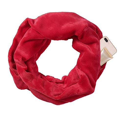 - alextreme 1 Pcs Women Winter Flannel Convertible Infinity Scarf with Pocket Loop Scarf Zipper Pocket