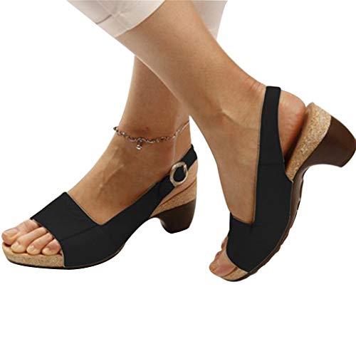 Cenglings Women Rome Shoes, Ladies Peep Toe High Chunky Heel Pumps Slip On Shallow Buckle Slingback Casual Beach Sandals -
