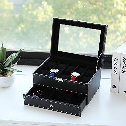 (Mikash 10 12 Slot Men/Women Wrist Watch Box Jewelry Display Case Storage Organizer | Model JWRLBX - 2246 |)