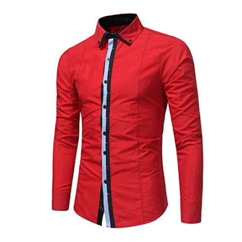 Leggings Denim Canyon (kaifongfu Shirt,Autumn Men's Formal Slim Shirt Long Sleeve Button-Down Dress Shirt Men Top Blouse(Red,XL))