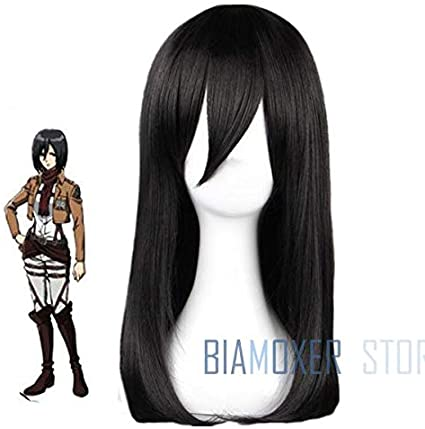 Attack On Titan Mikasa Ackerman Pelucas de Cosplay 45Cm Largo ...
