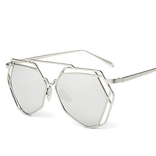 BVAGSS Fashion Mirrored Sunglasses Metal Frame Flat Women's sunglasses WS007 (Silver Frame, White - Sunglasses Mens Fashion