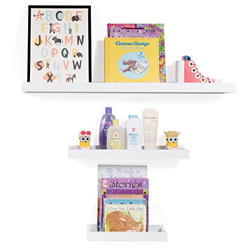 Wallniture Philly 3 Varying Sizes Floating Shelves Trays Bookshelves and Display Bookcase – Modern Wood Shelving for Kids Room and Nursery – Wall Mounted Storage Bathroom Shelf (White)