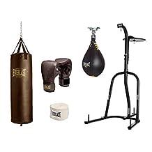 Everlast Dual Station Heavy Bag Stand, 100-lb, Vintage Heavy Bag Speed Bag Kit Bundle