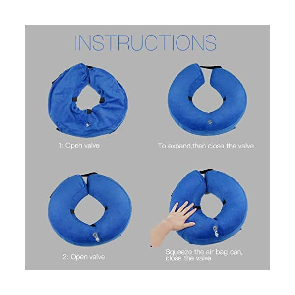 MorTime Protective Inflatable Collar for Dogs and Cats Adjustable Soft Pet Recovery Collar - Does Not Block Vision 5