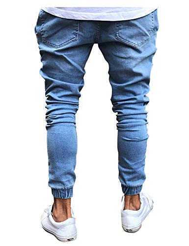 Skinny Fashion Denim Elasticizzati Comodo Casual Biker Uomo Battercake Confortevole Vintage Lichtblau Pantaloni Jeans Da wfzqpqXA