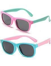FANDE 2 stuks kinderzonnebril, gepolariseerde sportbril, flexibele kinderzonnebrillen, UV400-gecoate glazen, veilig, licht en comfortabel, leeftijd 3-12