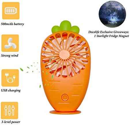 DecoLife Cute Personal Mini Fan, Handheld Portable USB Rechargeable Fan, 3 Adjustable Speeds, Perfectly Cooling for Indoor Or Outdoor Activities, Orange Carrot