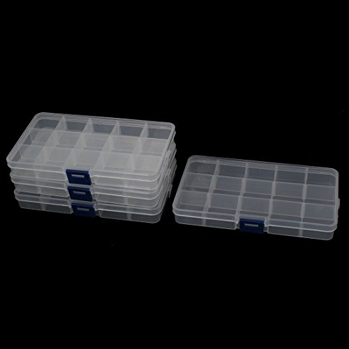 uxcell Plastic Fishing Lure Bait Storage Tackle Box Case Container 4PCS Clear