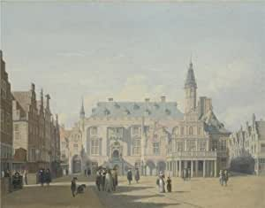 'Gerrit Berckheyde - The Market Place and Town Hall, Haarlem,about 1691' oil painting, 30x38 inch / 76x97 cm ,printed on Cotton Canvas ,this Cheap but High quality Art Decorative Art Decorative Prints on Canvas is perfectly suitalbe for Home Theater artwork and Home artwork and Gifts