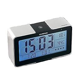 RUIX Thermo-Hygrometer Home Indoor Children's Alarm Clock,Silver