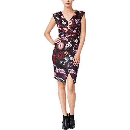 Print Cocktail Womens Black Dress Scuba Bar Floral III 5qIOCO