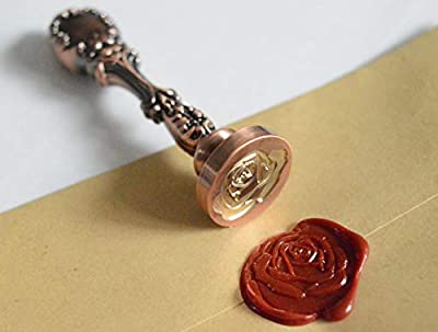 Jhostw The Rose, Miss You, Thank You Pattern Brass Head Metal Handle Wax Seal Stamp, Great Ideal for Envelopes, Cards, Letters, Parcels, Parties, Weddings, Invitations