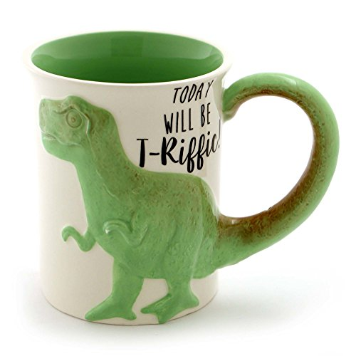 Enesco 6000549 Our Name is Mud Tea Rex Stoneware Coffee, 16 oz. Sculpted Mug Green