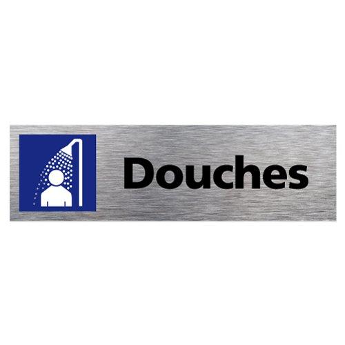 Plaque de porte Douches - Adhésif Autocollant Sticker aspect Aluminium Brossé - Pictogramme Douches Porte Rectangle Dimensions 170 x 50 mm - Douches Signalétique.biz France Q0111