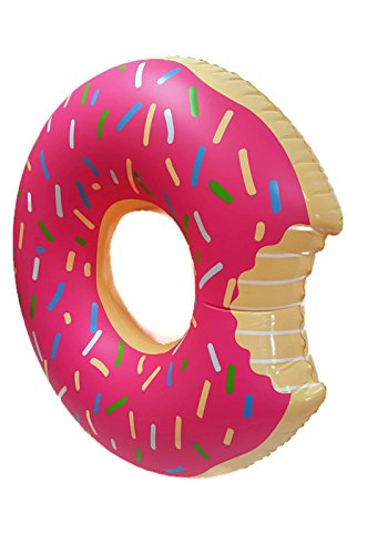 SplashNmore Inflatable Donut Float For Beach or Pool - 4 FEET ! ! ! (STRAWBERRY FROSTED)