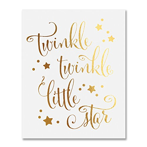 Twinkle Twinkle Little Star Gold Foil Decor Nursery Wall Art Print Poster 8 inches x 10 inches B28