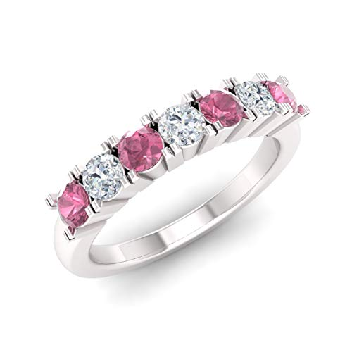Diamondere Natural and Certified Pink-Tourmaline and Diamond Wedding Ring in 14K White Gold | 0.82 Carat Half Eternity Stackable Band for Women, US Size 4