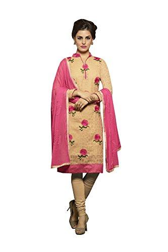 Da Facioun Femmes Indiennes Concepteur Partywear Anarkali Ethnique Beige Traditionelles Salwar Kameez En Coton Jacquard Beige