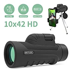 BRITUDE 10x42 monocular telescope is a portable monocular telescope for your sports adventures or nature explorations. One-handed operation Easy to use,Rotate the focus knob with one hand for optimal clarity Rotatable goggles When you are usi...