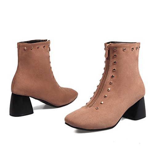 Block With Leather Nubuck Zip Mid Square Retro Shoes Boots Toe Rivets Ankle Agodor Heel Womens Apricot nqvwYTHH