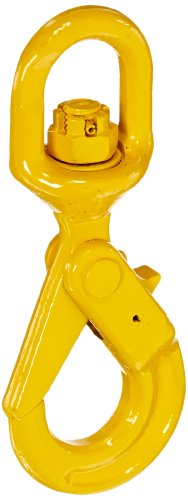 Indusco 47400814 Grade 80 Drop Forged Steel Swivel Self-Locking Hook, Painted Finish, 1/4
