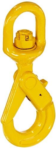 Self Locking Hook - Indusco 47400814 Grade 80 Drop Forged Steel Swivel Self-Locking Hook, Painted Finish, 1/4