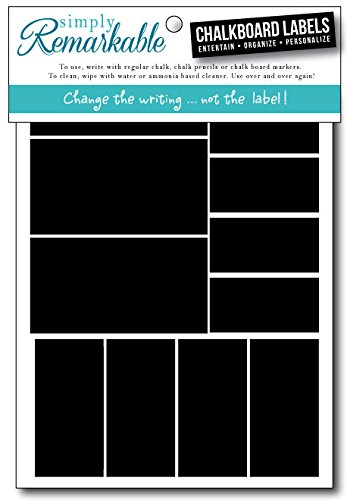 (Simply Remarkable Reusable Chalk Labels - 36 Rectangle Shape Adhesive Chalkboard Stickers in 3 Sizes, Light Material with Removable Adhesive and Smooth Writing Surface. Can be Wiped Clean and Reused, For Organizing, Decorating, Crafts, Personalized Hostess Gifts, Wedding and Party Favors)
