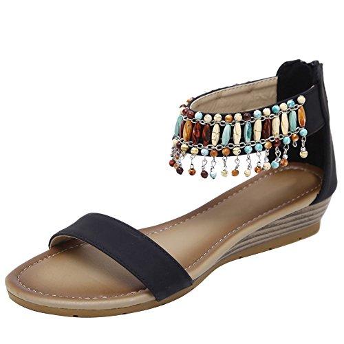 Charm Foot Womens Bohemia Con Cerniera Perline Sandali Con Zeppa Basso Nero