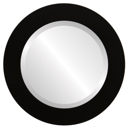 Round Beveled Wall Mirror for Home Decor - Soho Style - Matte Black - 22x22 outside dimensions