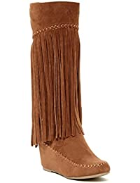Fashion Women Multi- Color Lima Tribial Indian Moccacnins Three Layerd Tassels Fring Beaded Winter Mid Calf Cowboy Faux Suede Sexy Dress Boot Shoes.