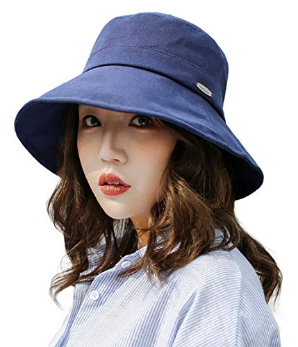 - E.Joy Online Womens UPF Linen/Cotton Summer Sunhat Bucket Packable Hats w/Chin Cord Navy