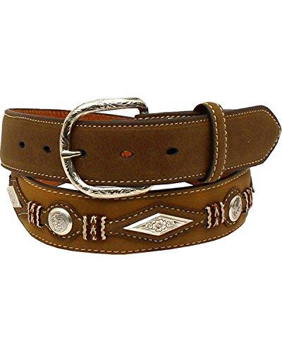 Diamond Concho Belt (Nocona Men's Scalloped Overlay Leather Belt Medium Brown)