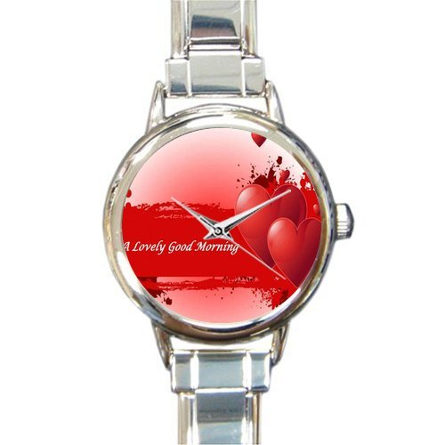 Valentine's Day Gift Watch With Love Red Cup of Coffee and Valentines Day Round Italian Charm stainless steel Watch