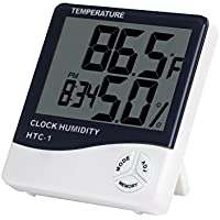 MAXELNOVA Plastic Temperature Humidity Time Display Meter with Alarm Clock, Wall Mount or Table Top (Multicolour)