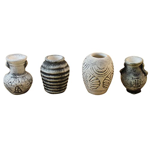 Ceramic Porcelain Vintage (TOOGOO(R) 1/12 doll house miniature vintage porcelain ceramic totem vase flower pots 4-pc)