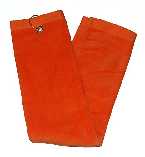 Orange Tri-Fold Golf, Hand Towel with Grommet & Hook